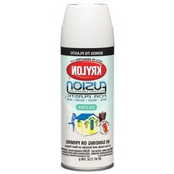 Krylon Fusion, 12 OZ, Satin Dover White Spray Paint for Plas