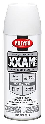 Krylon K09159000 COVERMAXX Spray Paint, Satin Bright White,