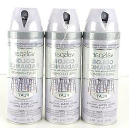 Lot of 3 Valspar Color Radiance Spray Paint/Primer 12oz Flat