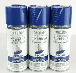 Lot of 3 Valspar Project Perfect Paint/Primer Spray 12z Glos